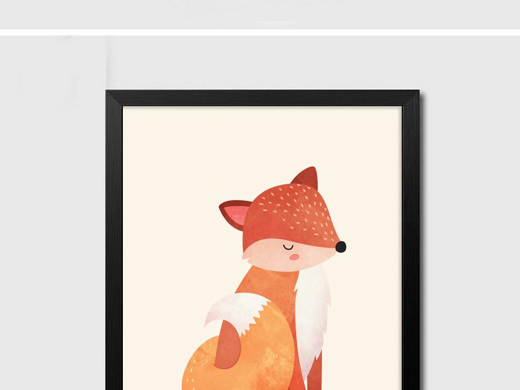 10北欧简约大气动物装饰画松鼠组合画