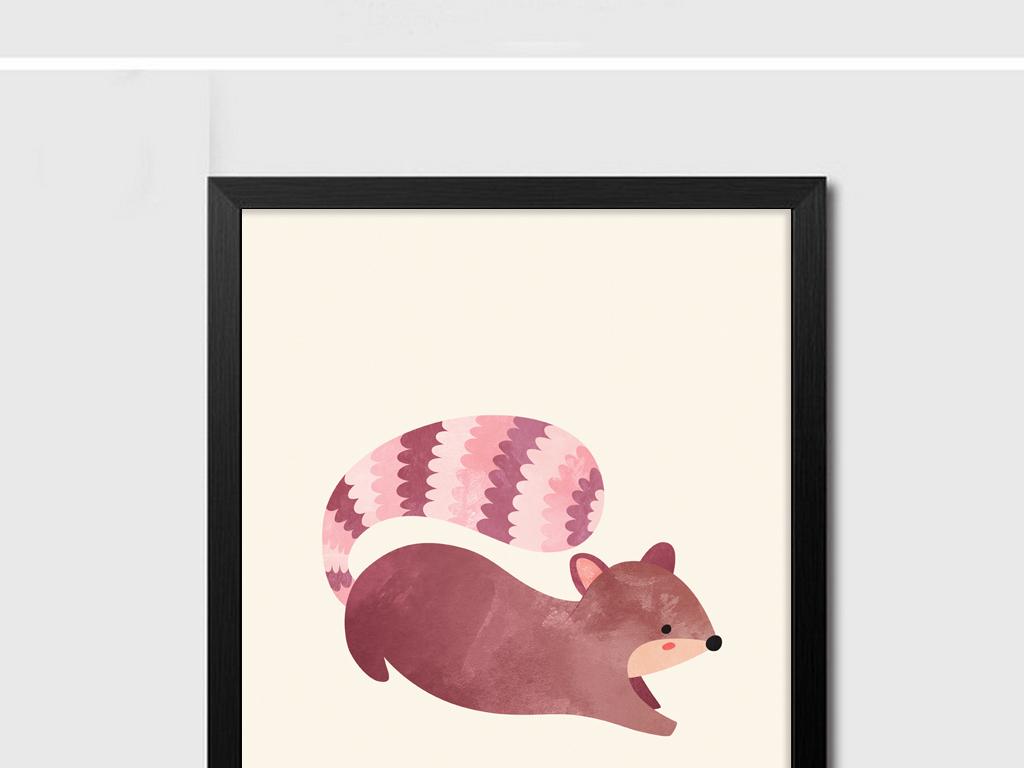 11北欧简约大气动物刺猬松鼠组合装饰画