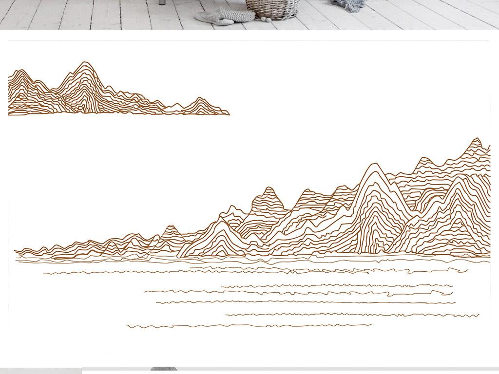 巨幅                                  手绘线条手绘抽象