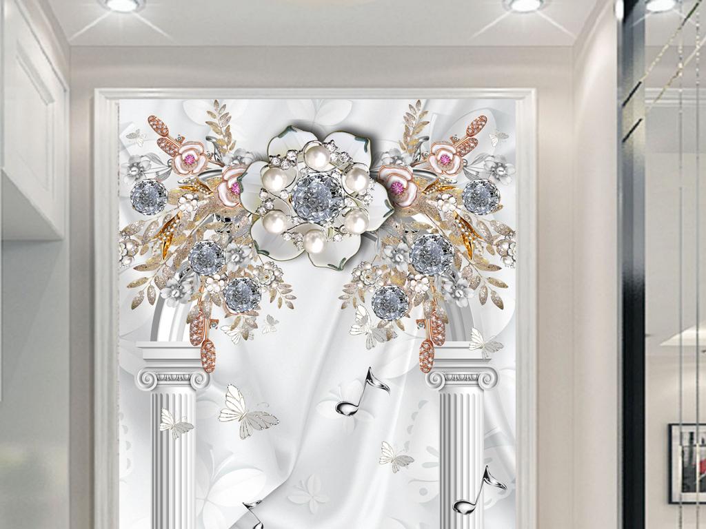 天鹅罗马柱玄关背景图片