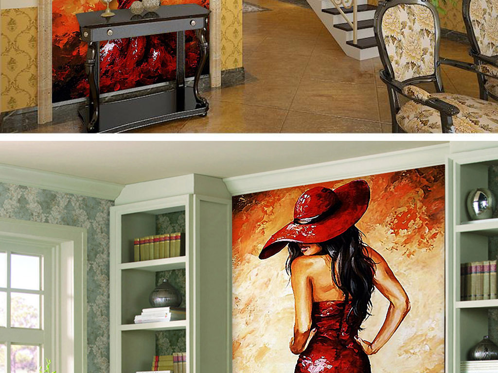 性感火辣红裙美女欧式时尚酒吧玄关装饰画
