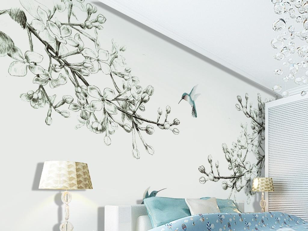背景墙|装饰画 电视背景墙 手绘电视背景墙 > 素描手绘淡雅黑白花鸟