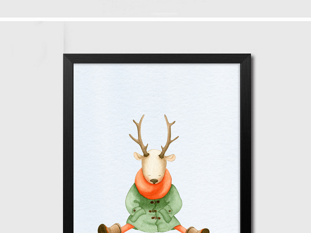 22北欧动物装饰画组合画下载简约大气