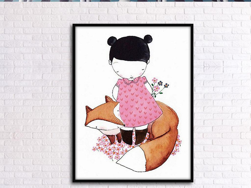 狐狸小女孩可爱北欧手绘欧式现代装饰无框画