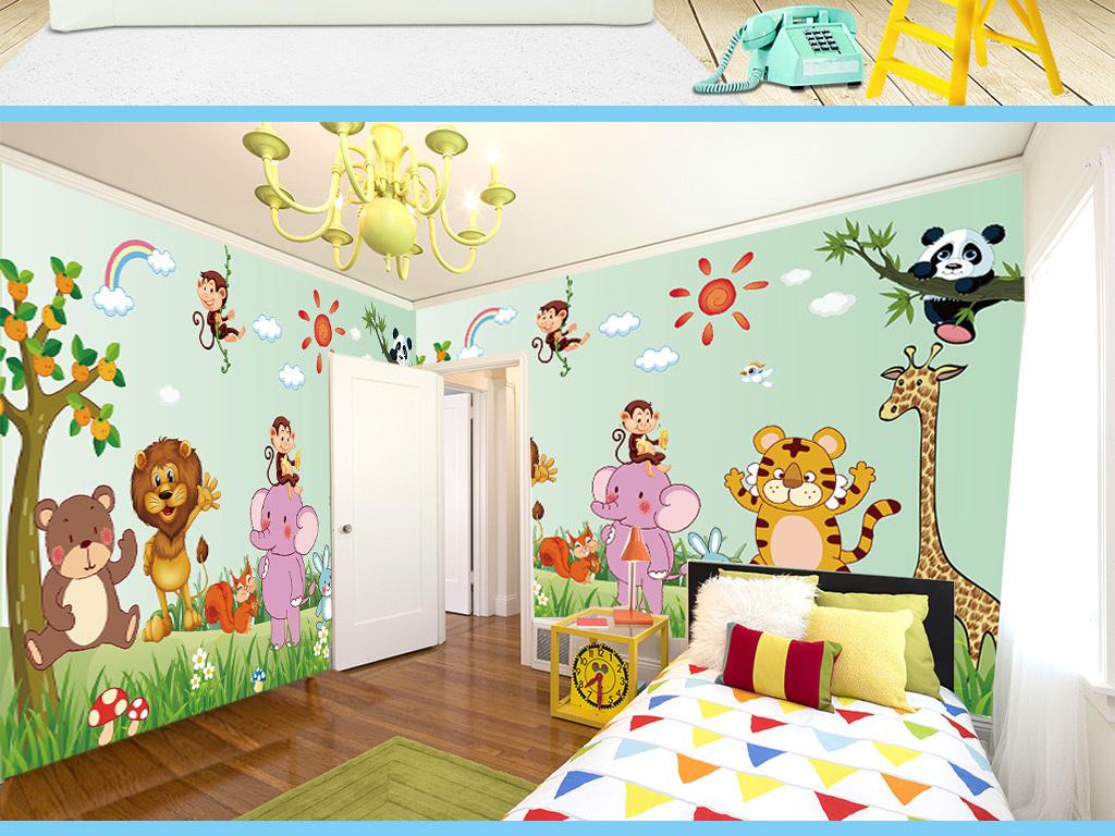 卡通动物世界儿童房