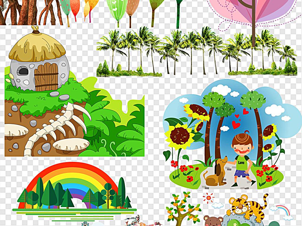 卡通森林小树原始森林奇幻森林背景图片