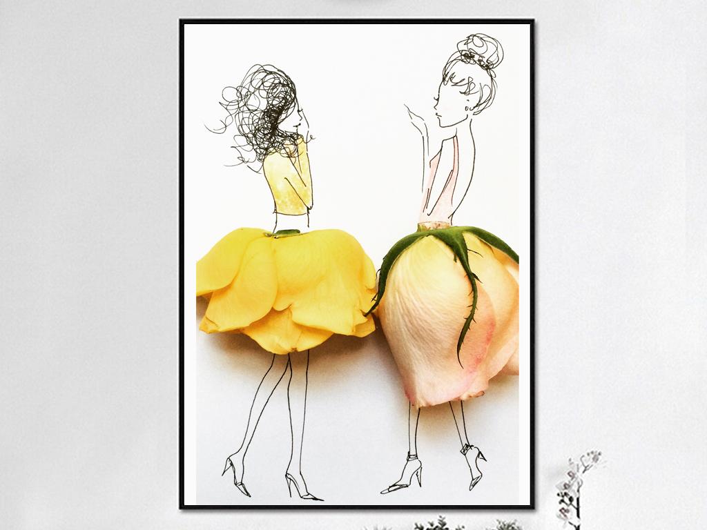 6唯美立体人物玫瑰花瓣装饰画下载