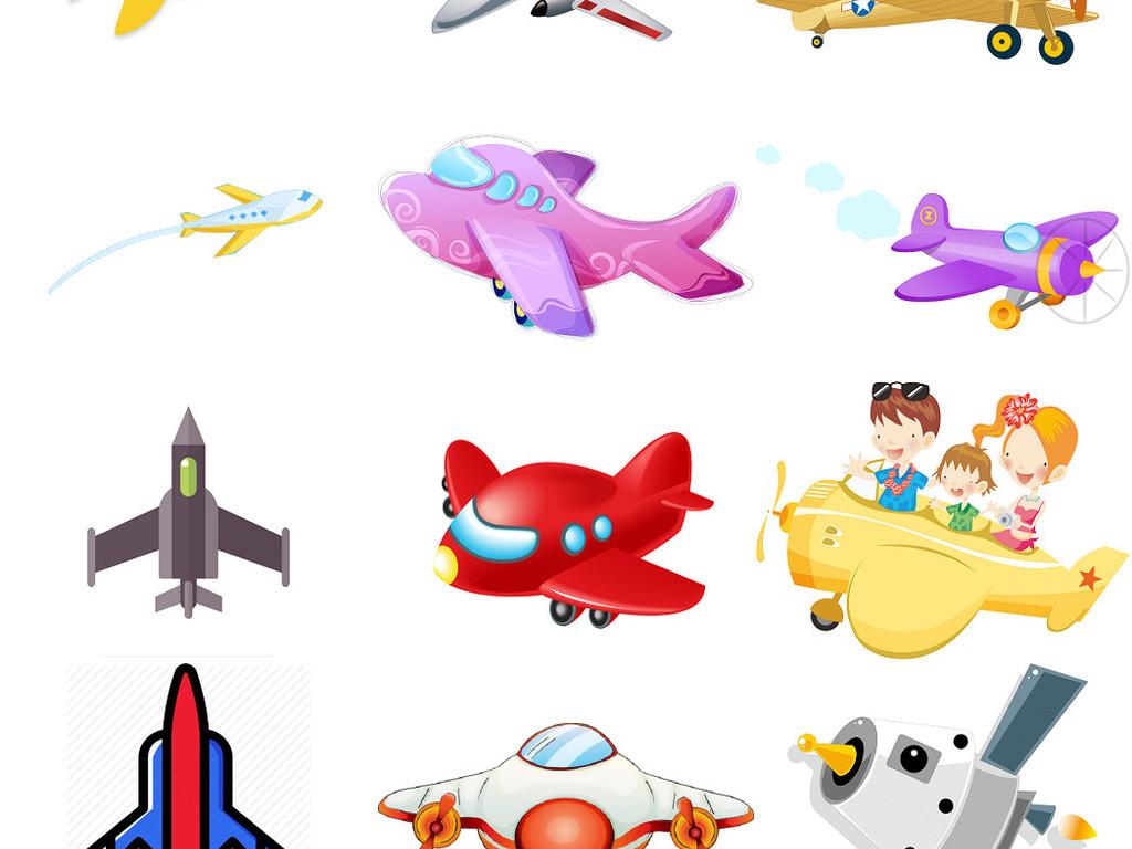 多款卡通飞机免抠png海报素材图片2