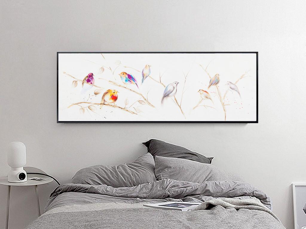 风格无框画装饰画水彩画挂画图片可爱床头画花鸟装饰