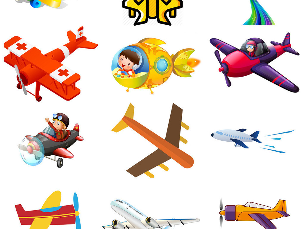 卡通飞机免抠png透明素材图片3