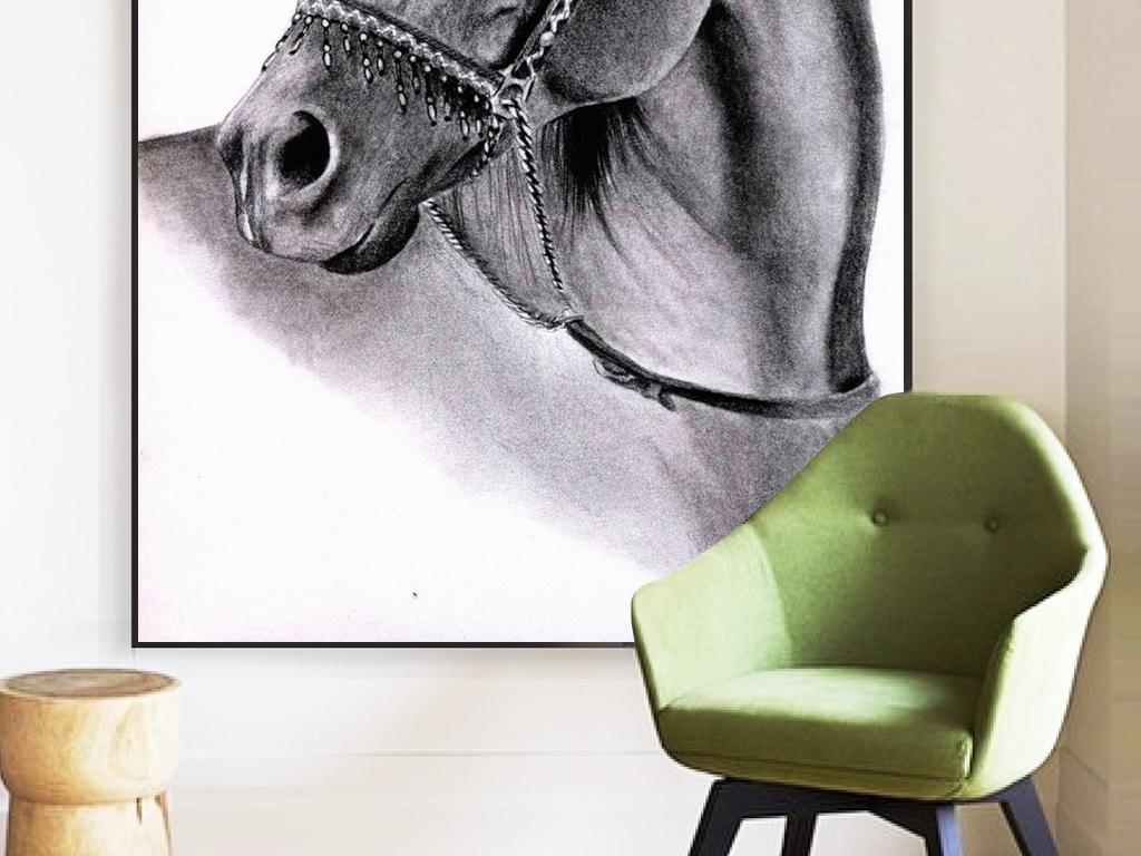 31骏马大气头像动物装饰画下载黑白