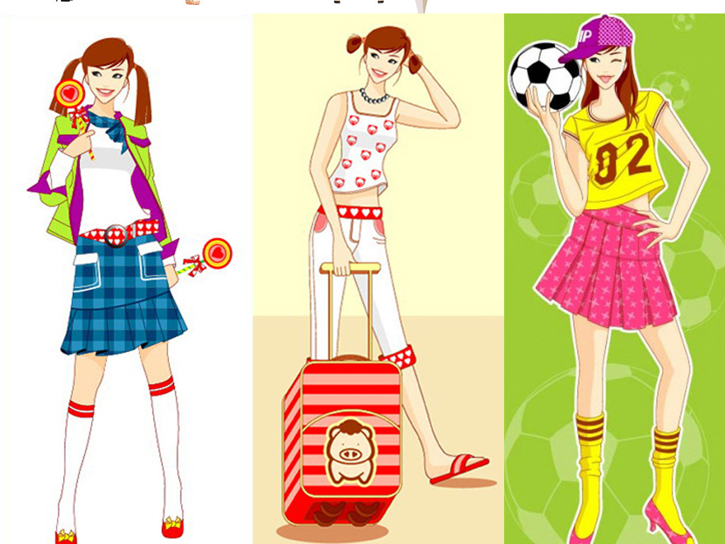 时尚可爱卡通人物卡通女孩素材