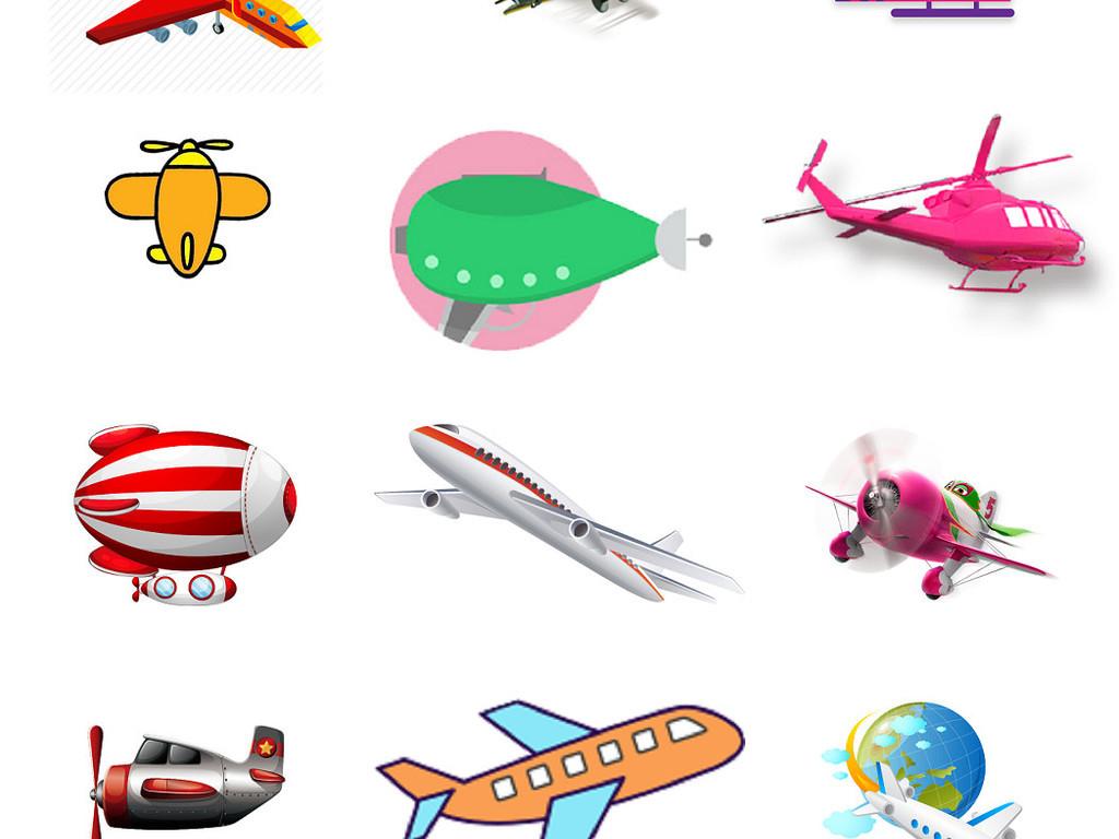 卡通飞机免抠素材卡通小飞机海报设计素材4