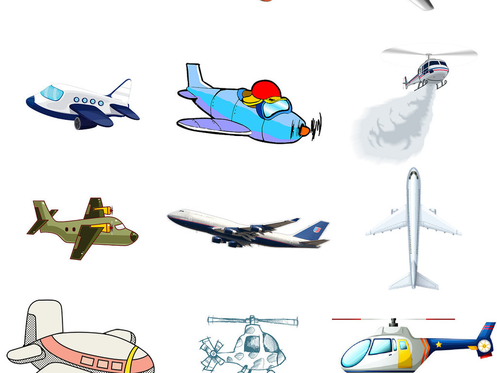 可爱卡通飞机免抠png设计元素素材4