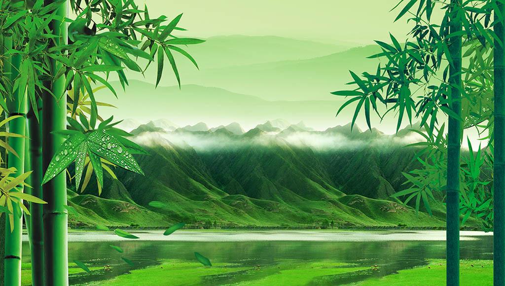 竹林山水背景墙