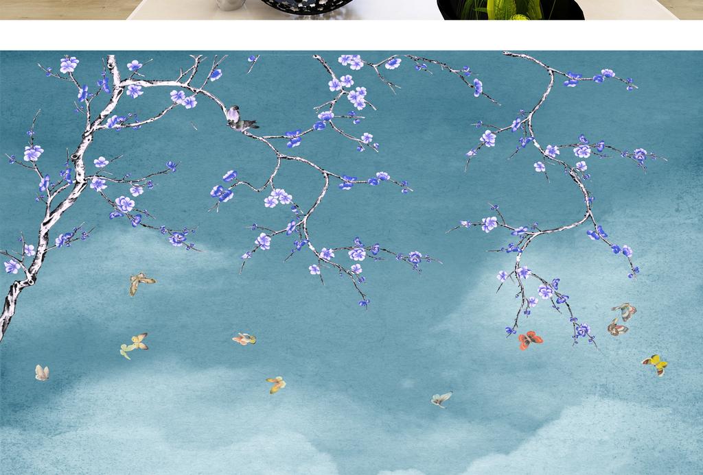 工笔画花鸟背景墙图片