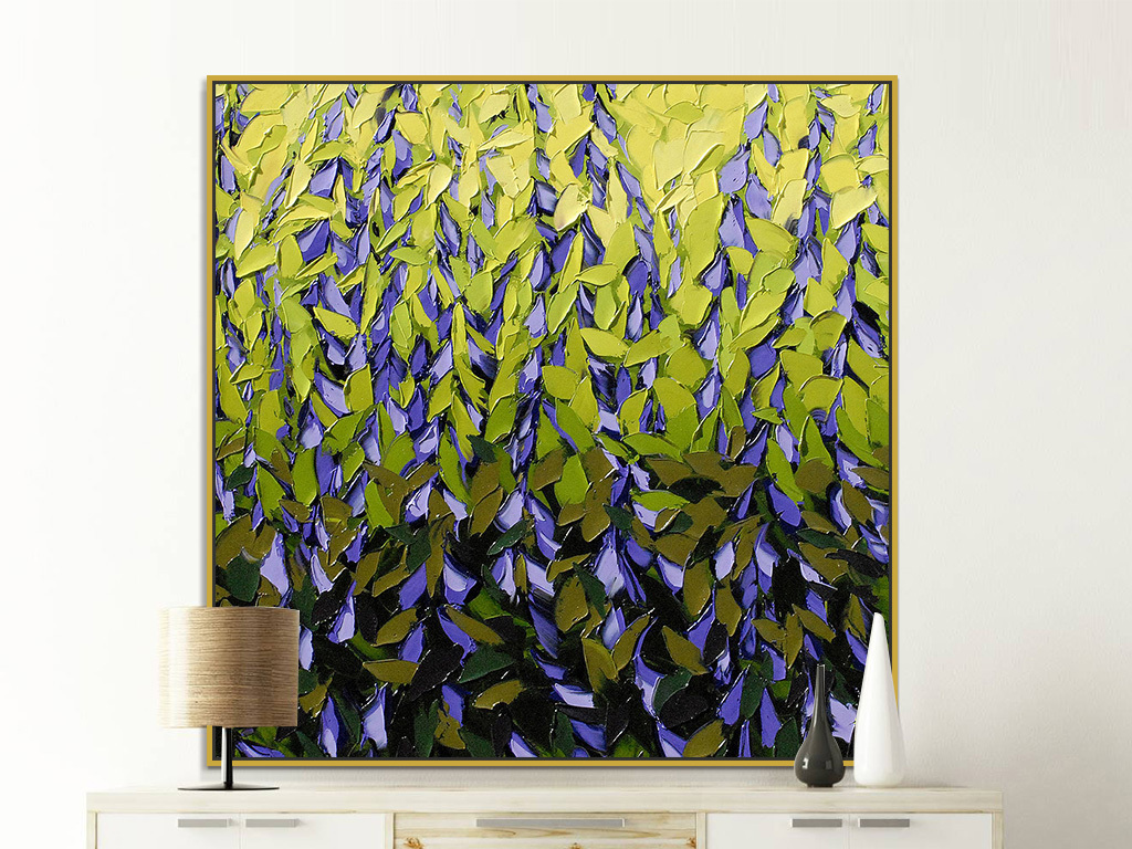 现代简约手绘紫色植物花卉花瓣抽象装饰画