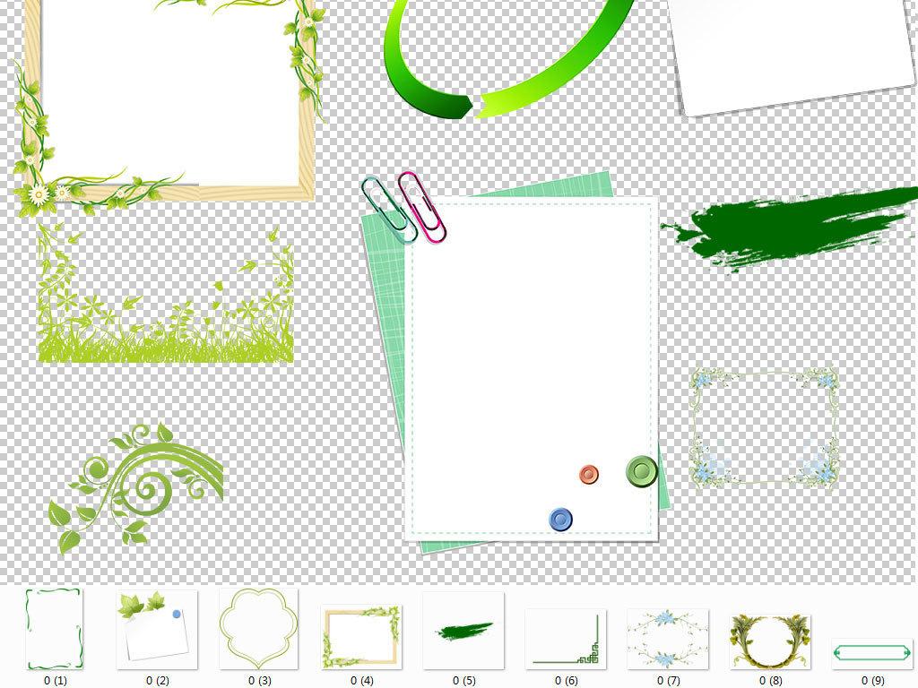 手绘绿色边框装饰海报设计海报素材