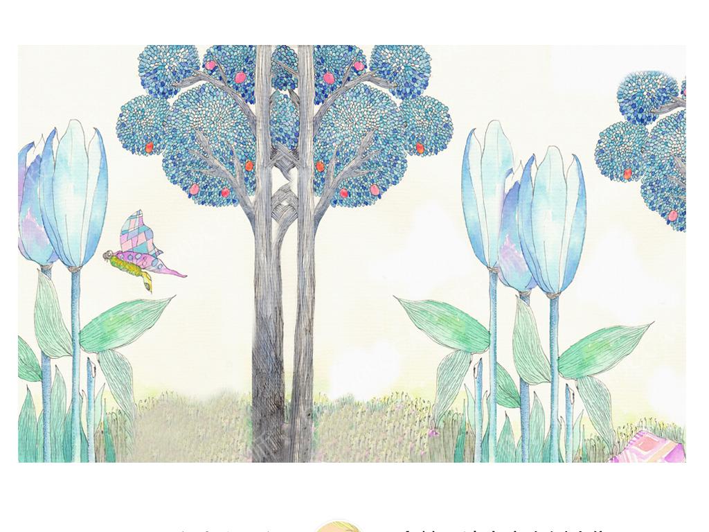 手绘蓝色调简约北欧童话树林儿童房背景