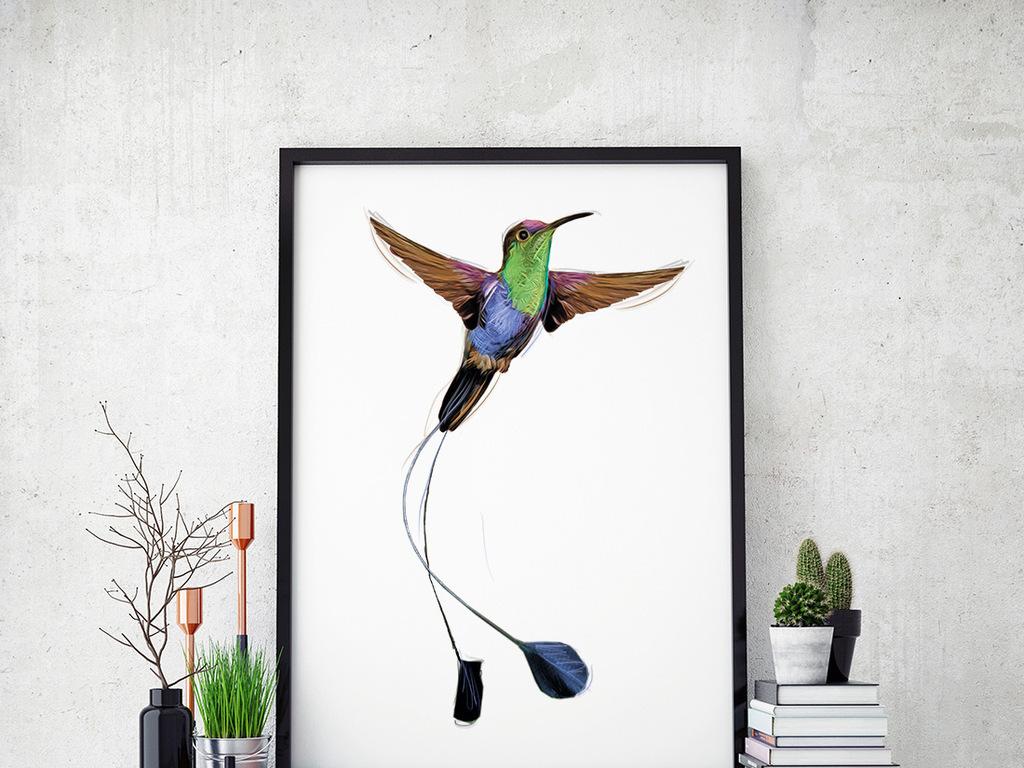 手绘水彩蜂鸟与花(图片编号:16119207)_动物图案无框