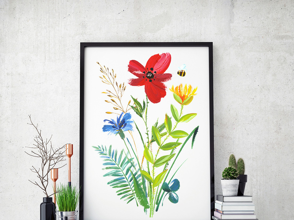 手绘水彩蜂鸟与花