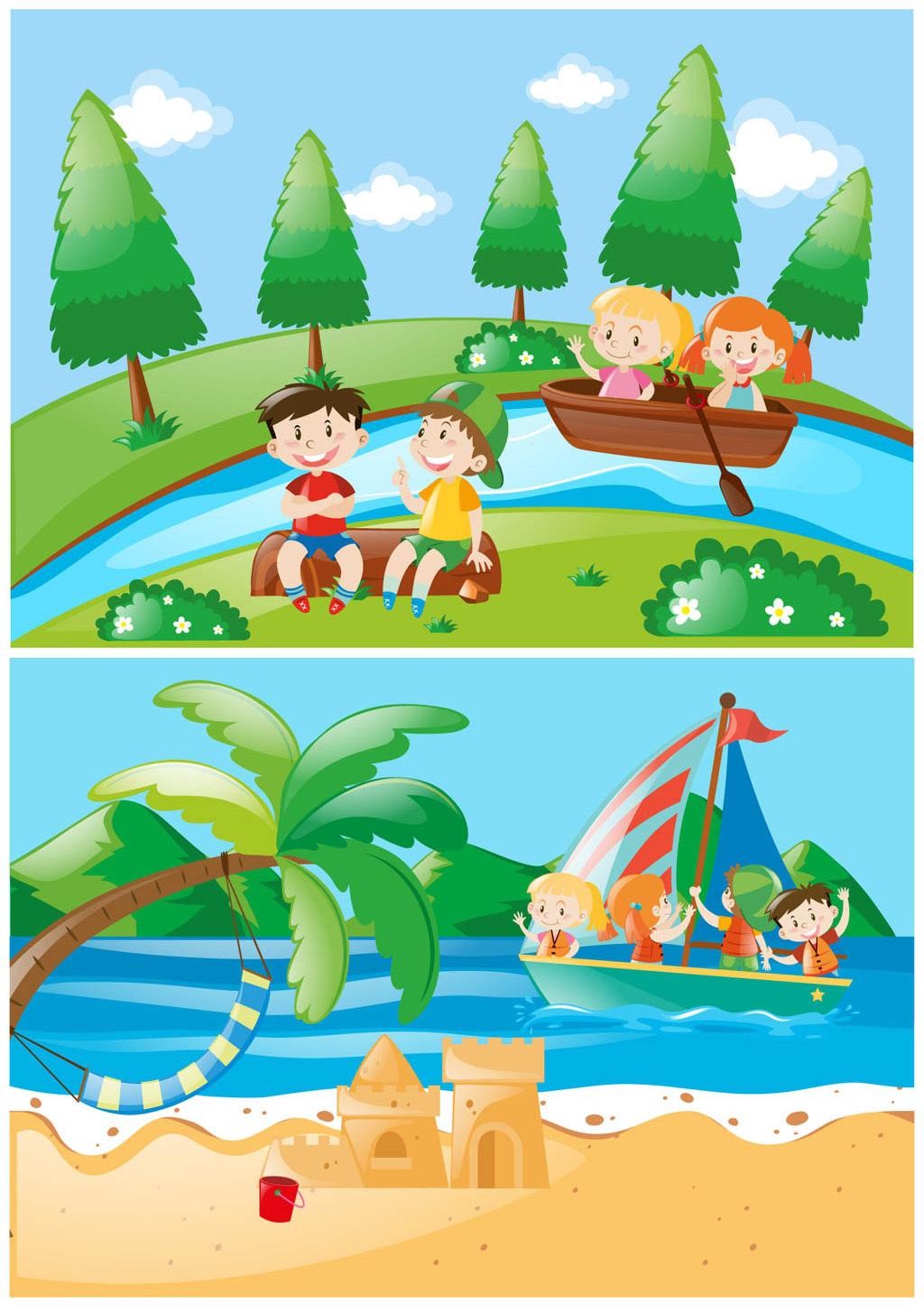 儿童划船简笔画
