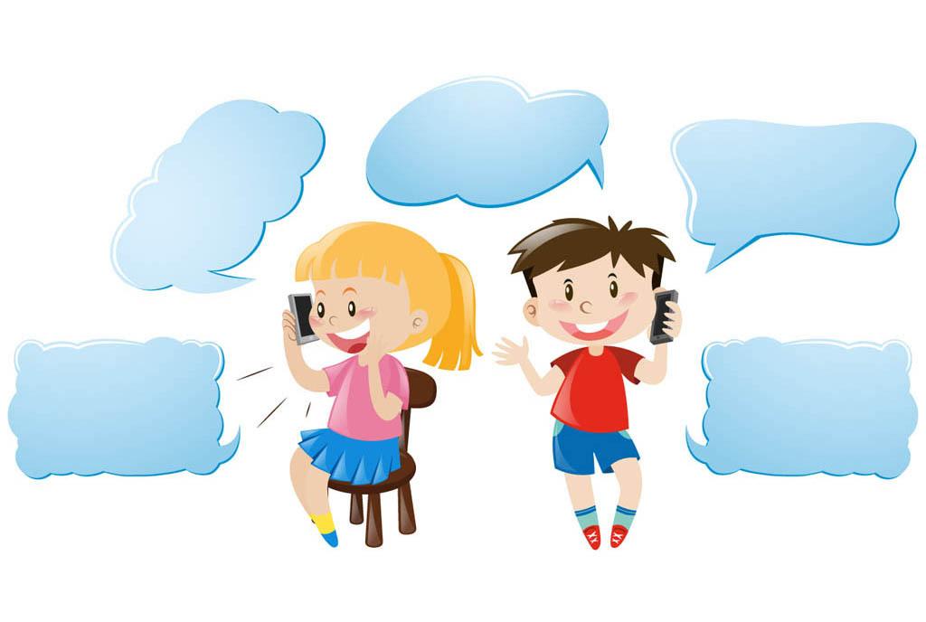 时尚可爱卡通小朋友对话框卡通素材