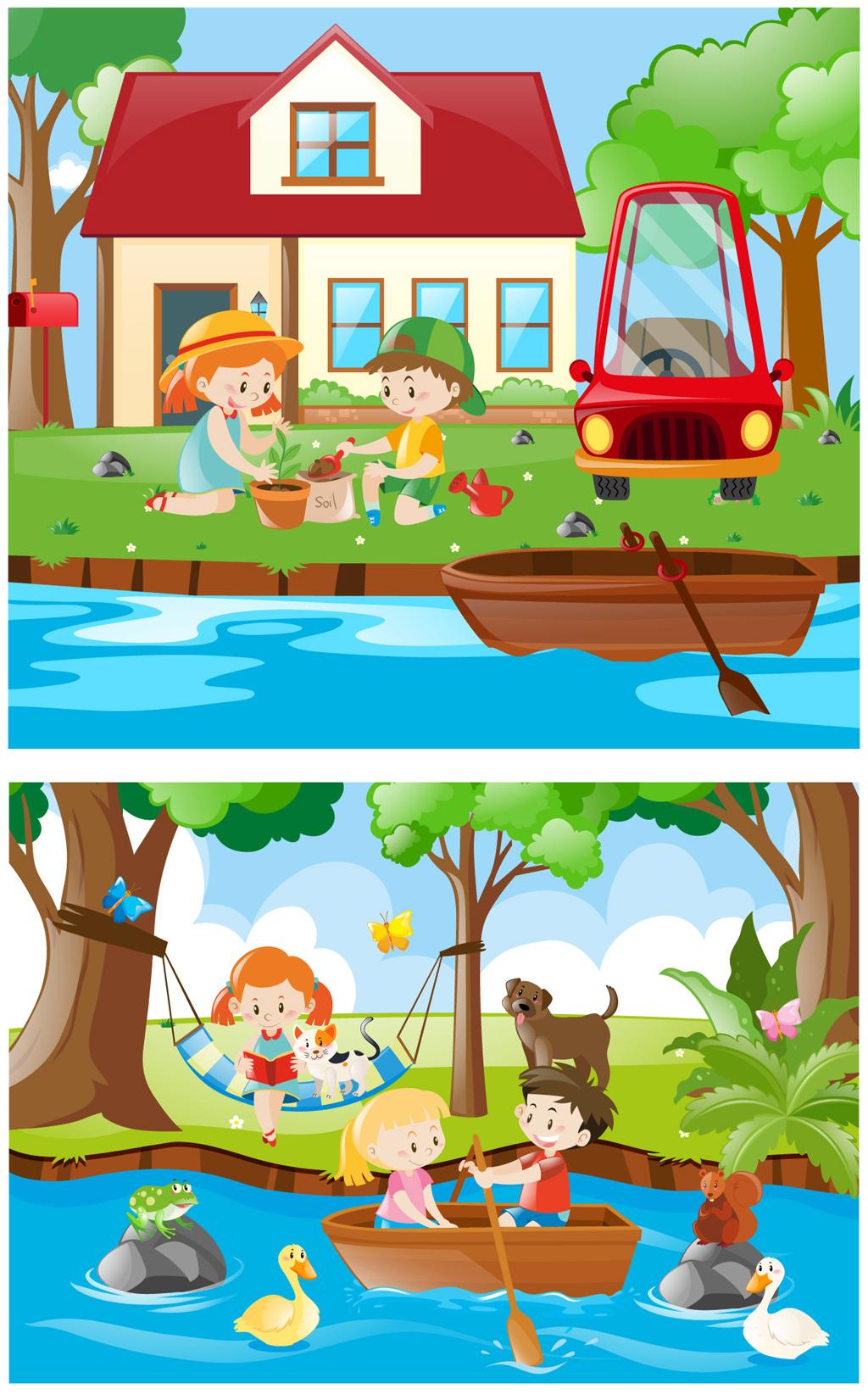 时尚可爱卡通小朋友劳动卡通划船素材图片设计 高清其他模板下载 4.