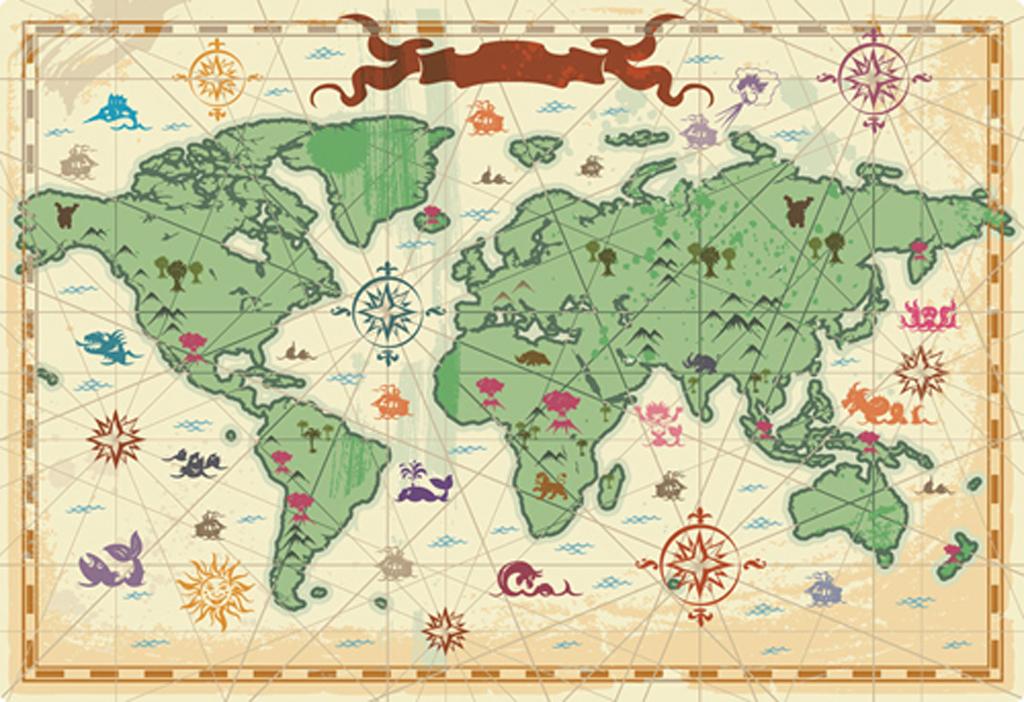 复古世界地图矢量素材
