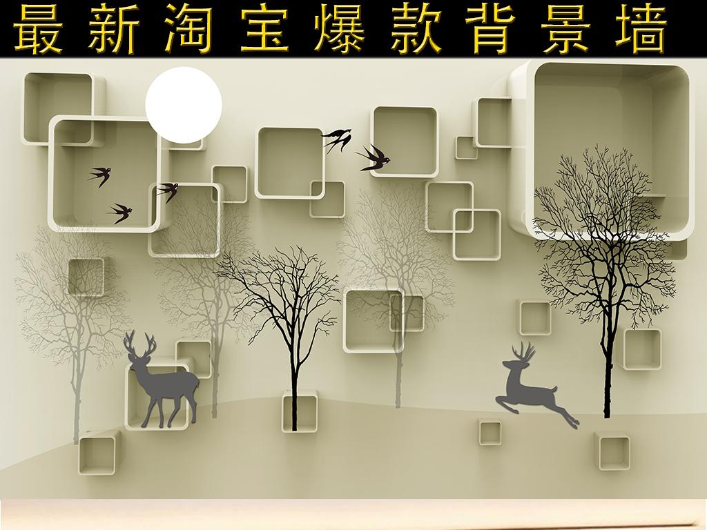 方框现代背景方块背景卡通梅花鹿梅花鹿图片梅花梅花鹿动物梅花鹿梅花