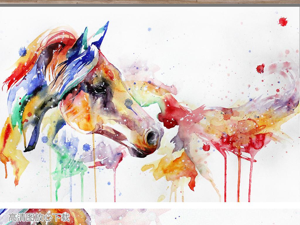 140油彩水彩装饰画下载骏马动物