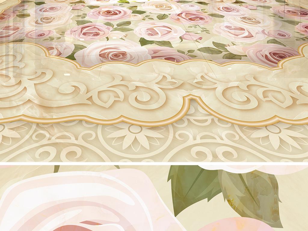 花纹欧式拼花花卉地板地砖田园瓷砖拼花地砖瓷砖拼花
