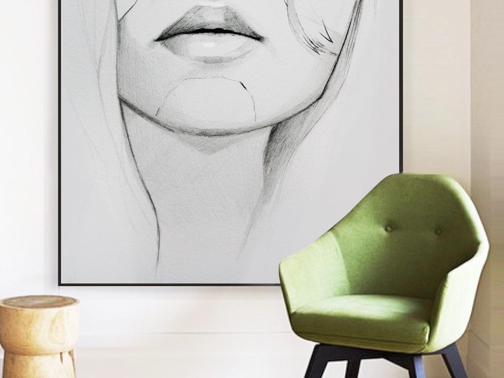 185黑白抽象美女头像装饰画下载