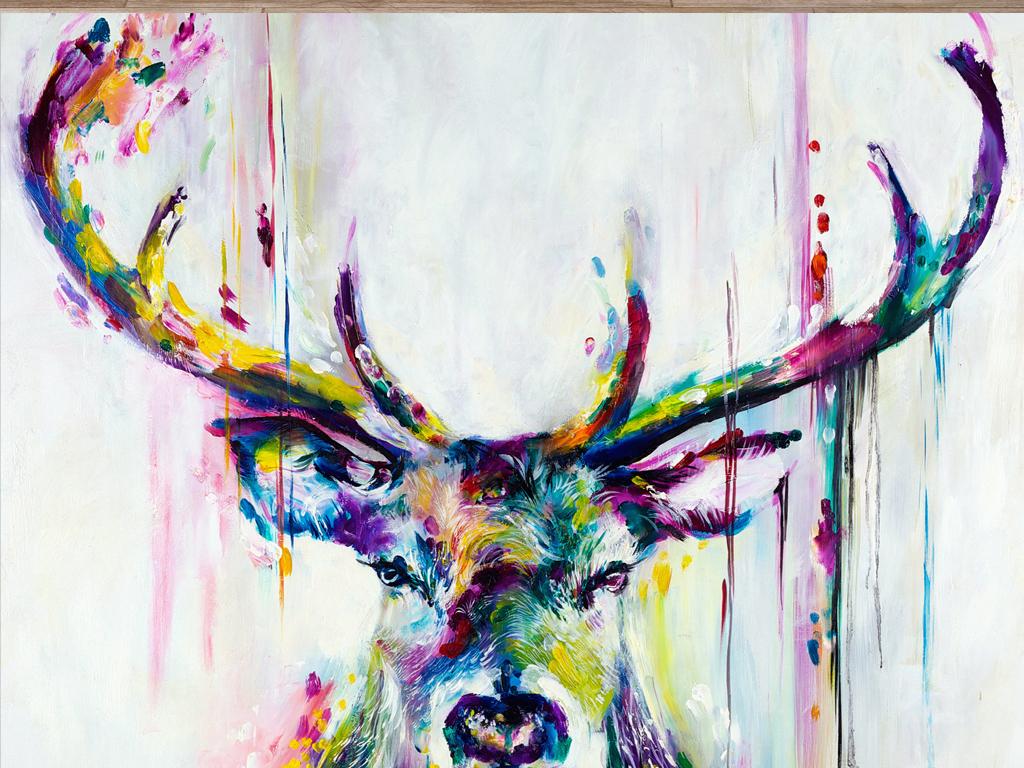 麋鹿女图片手绘唯美