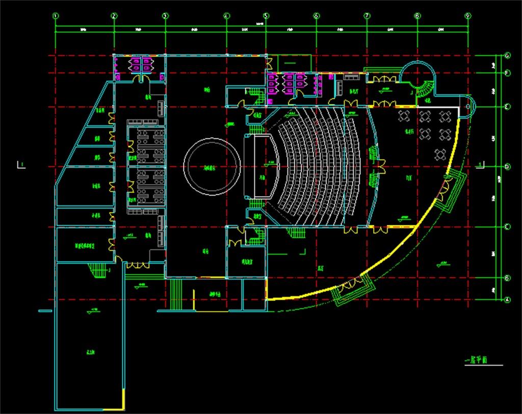 中小型剧场cad建筑平面图