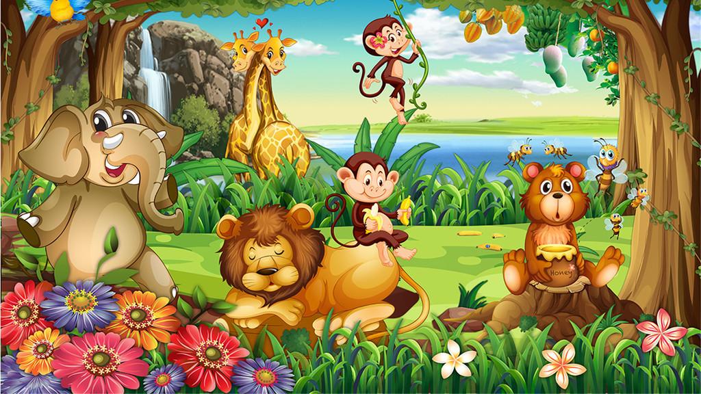 森林动物儿童房壁画背景墙