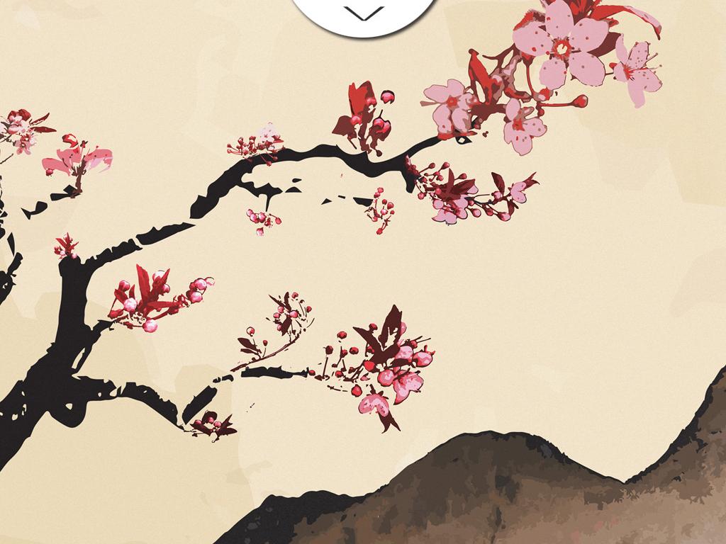 547桃花樱花花卉装饰画下载中国风