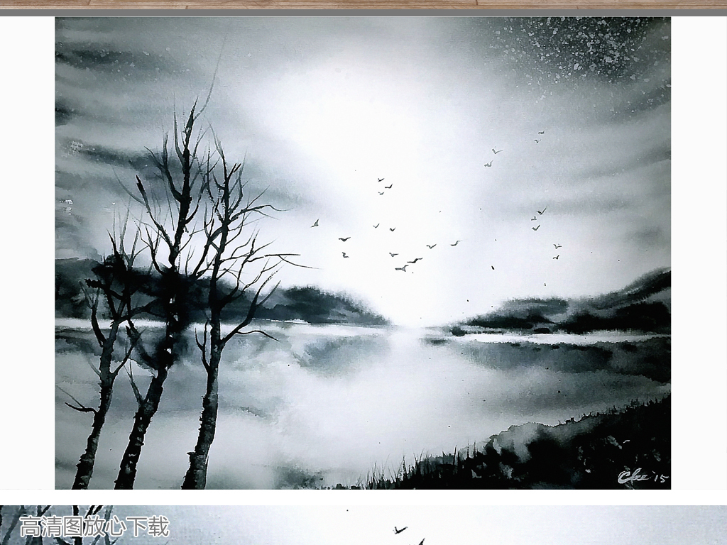 艺术咖啡厅麋鹿床头画黑白炫彩客厅装饰画挂画简欧