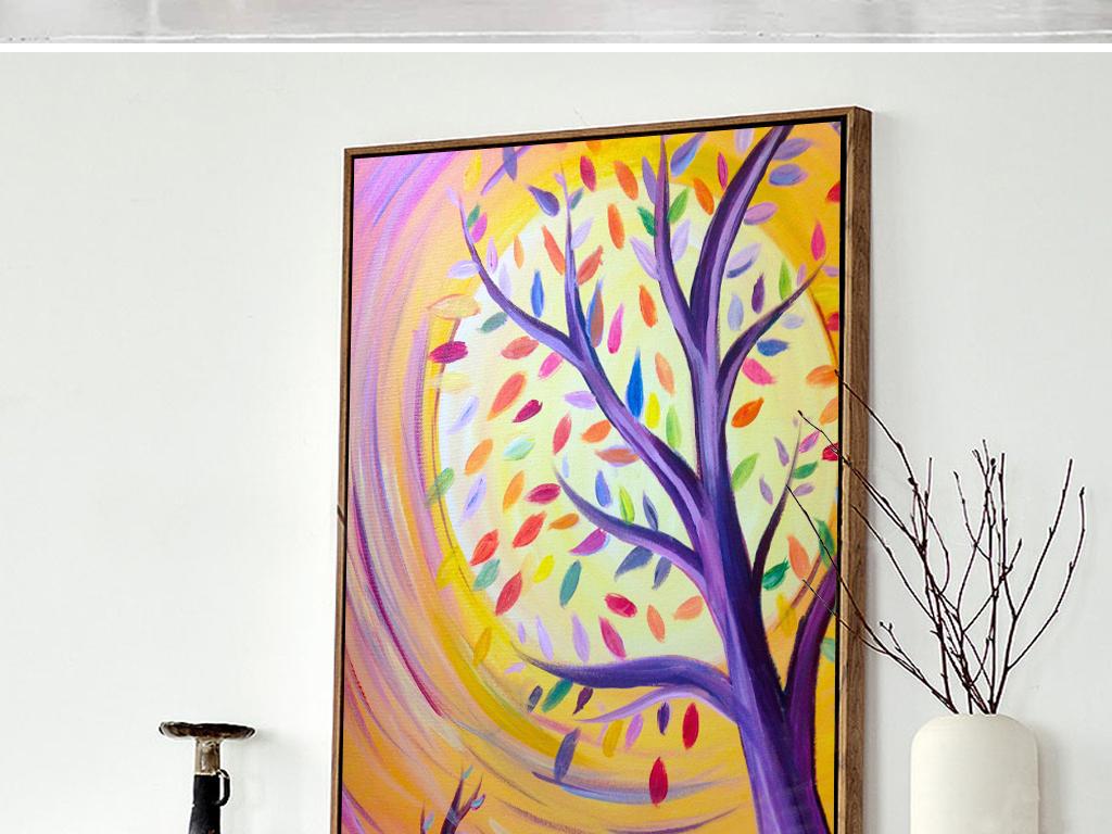 711欧美发财树装饰画下载油画