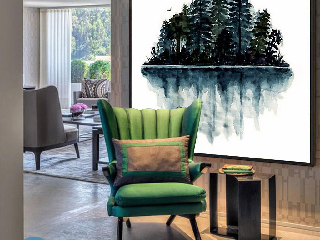 海岛倒影北欧手绘清新欧式现代酒店装饰画