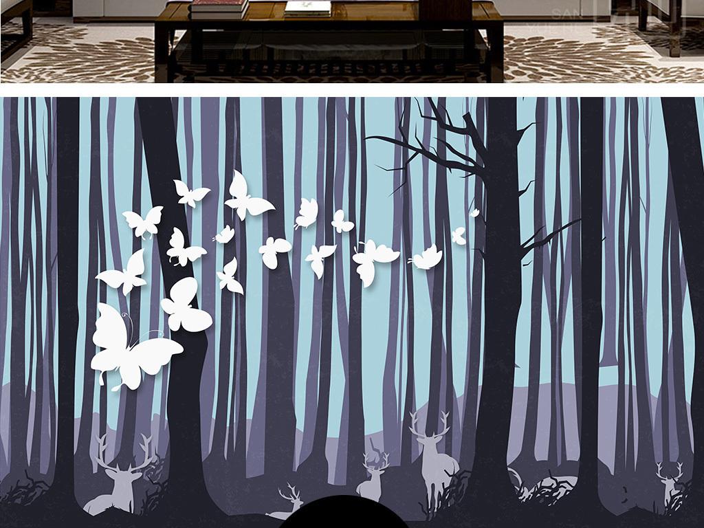 森林鹿头唯美图片手绘