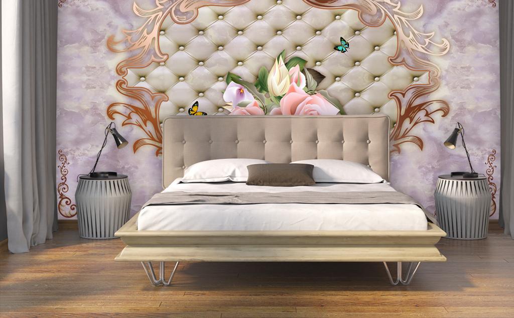 欧式大理石纹软包花朵电视背景墙