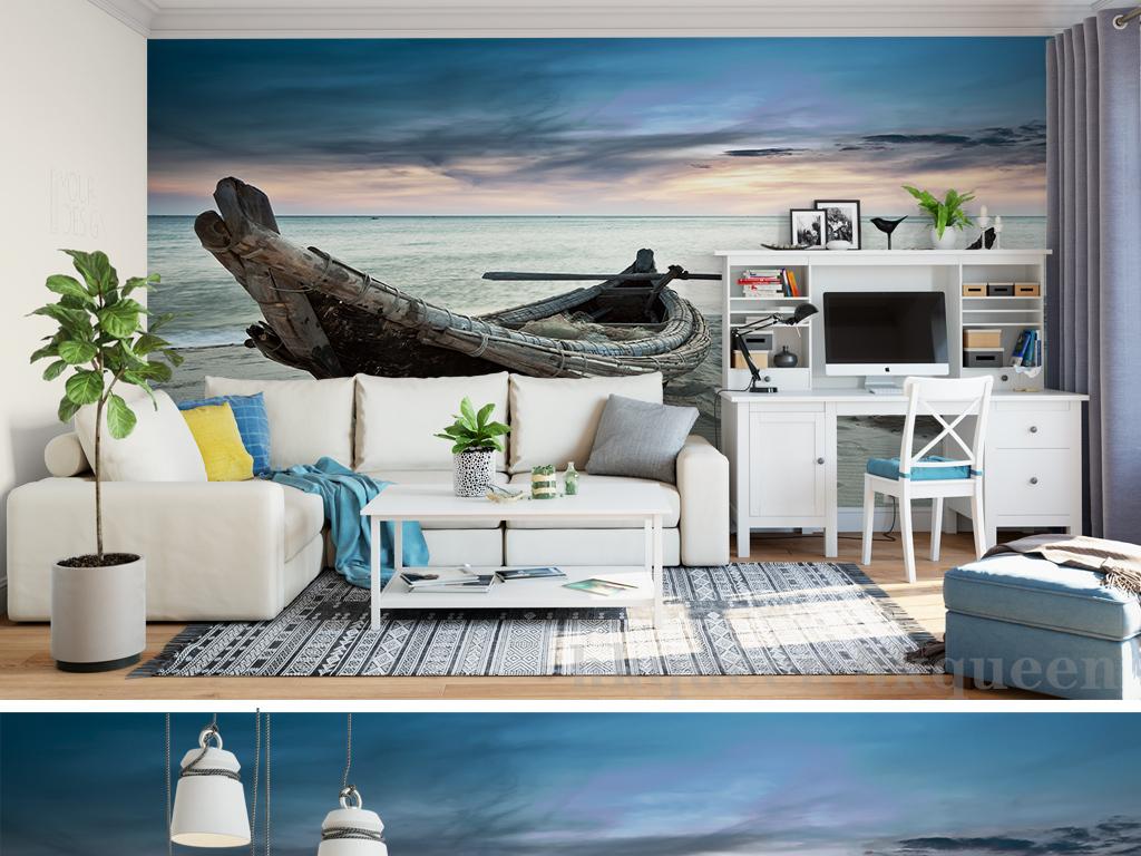 现代简约梦幻唯美复古小船沙滩风景背景墙