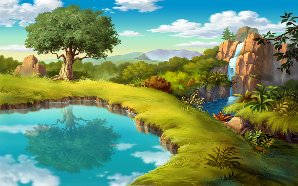 童话手绘森林世界儿童背景童话森林高清背景卡通动画