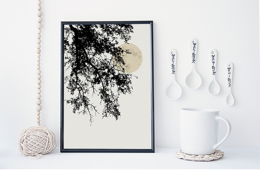 北欧树枝抽象无框画图片