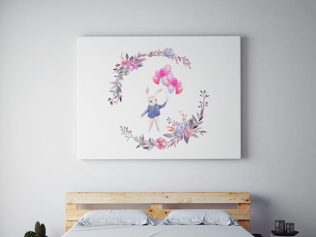 手绘水彩兔子熊和燕子