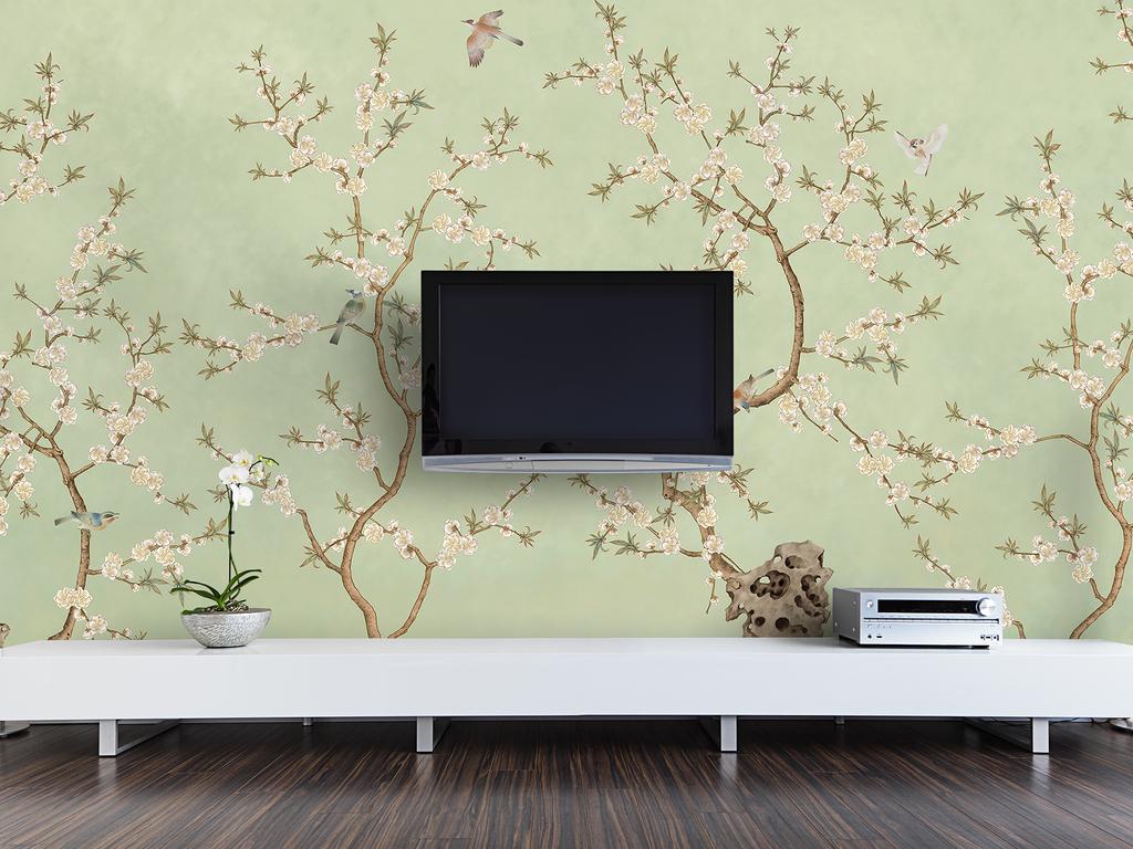 新中式手绘桃花电视背景墙(图片编号:16123491)