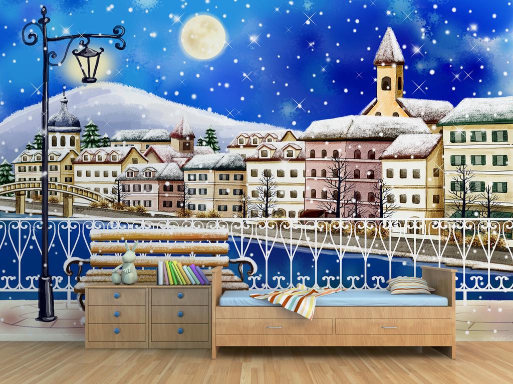 儿童风格手绘城市街道雪景背景墙图片