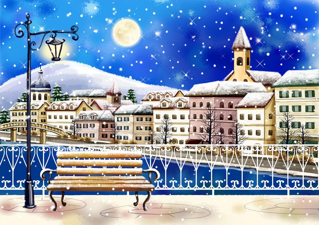 儿童风格手绘城市街道雪景背景墙
