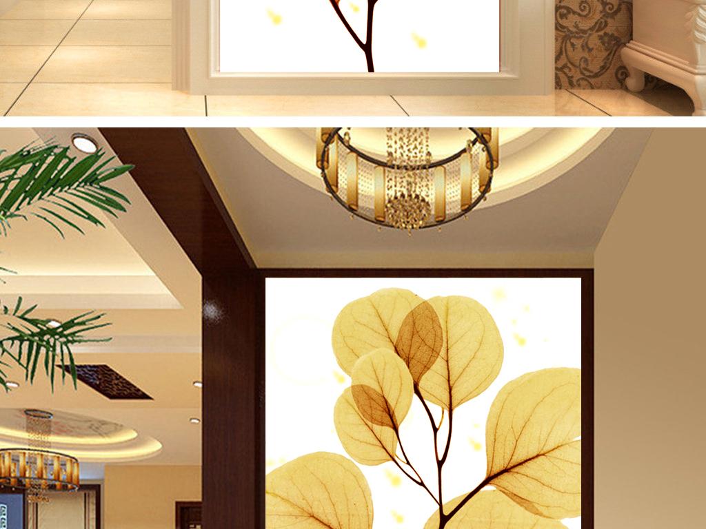 黄金叶室内玄关壁画